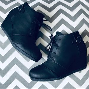 MAURICES | Black Wedge Booties